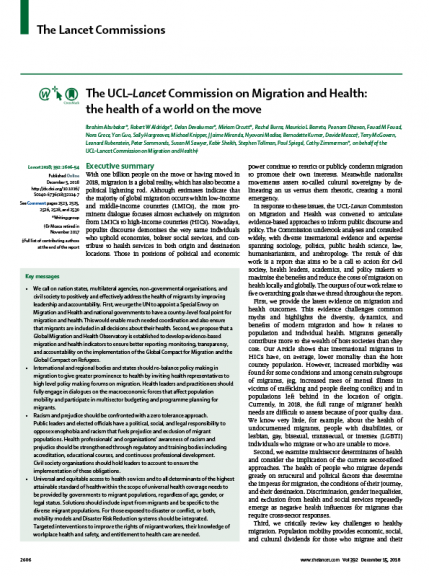 The cover of the report of the Lancet Migration Commission