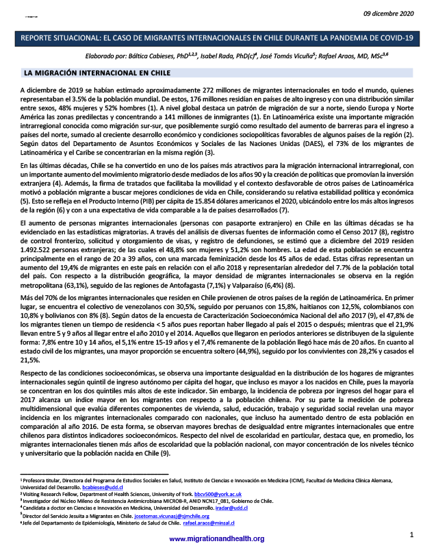 Cover of the Lancet Migration Situational Brief on Chile – ES