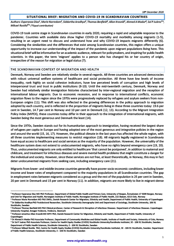 Cover of the Lancet Migration Situational Brief on Skandinavia – EN