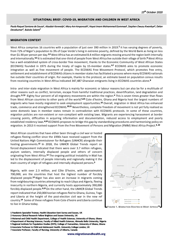 Cover of the Lancet Migration Situational Brief on West African children – EN