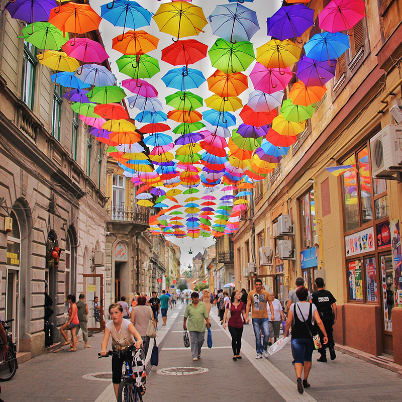 Photo of a vibrant street scene in Romania by