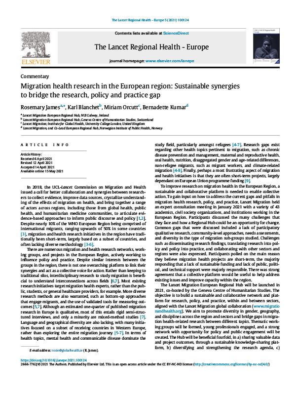 Cover of the Migration health research in the European region paper
