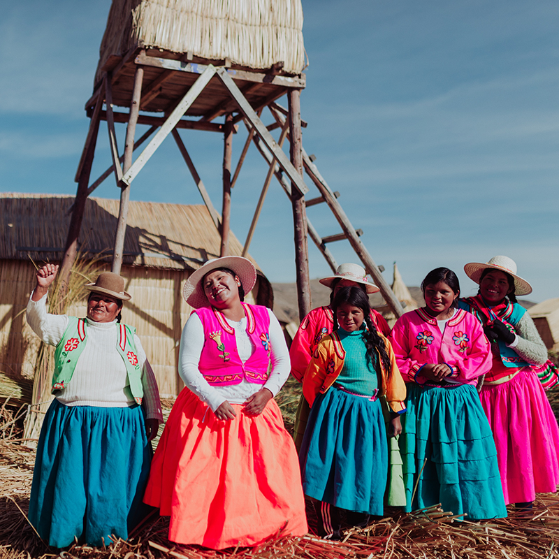 Photo of a floating village on Lake Titicaca